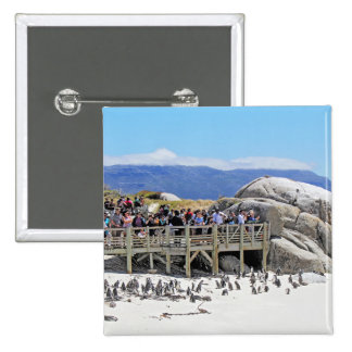 Tourists at Boulders Beach looking at penguins 15 Cm Square Badge