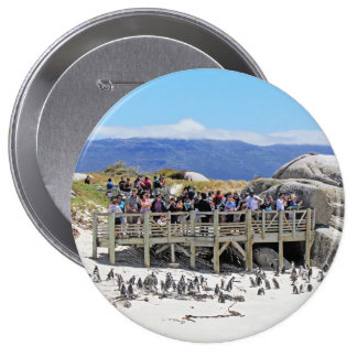 Tourists at Boulders Beach looking at penguins 10 Cm Round Badge