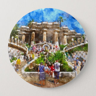 Tourists at Parc Guell in Barcelona Spain 10 Cm Round Badge