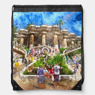 Tourists at Parc Guell in Barcelona Spain Drawstring Bag