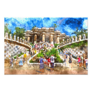 Tourists at Parc Guell in Barcelona Spain Photo Print