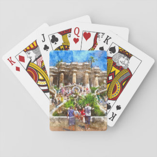 Tourists at Parc Guell in Barcelona Spain Poker Deck