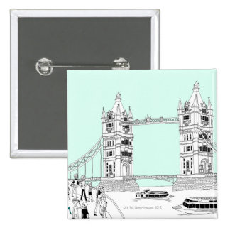 Tourists by Railing 15 Cm Square Badge
