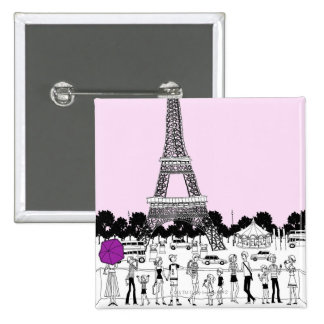 Tourists by Tower 15 Cm Square Badge