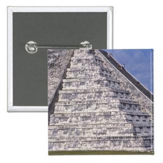 Tourists climbing stairs of El Castillo, stone 15 Cm Square Badge