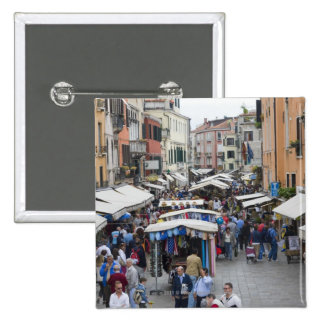 Tourists in a street market, Venice, Italy 15 Cm Square Badge
