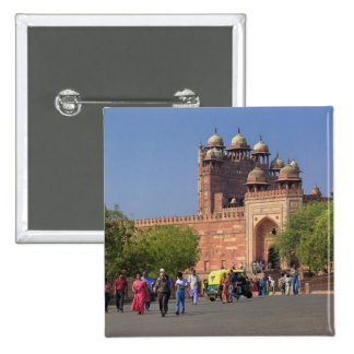 Tourists in front of Fatehpur Sikri, in the 15 Cm Square Badge