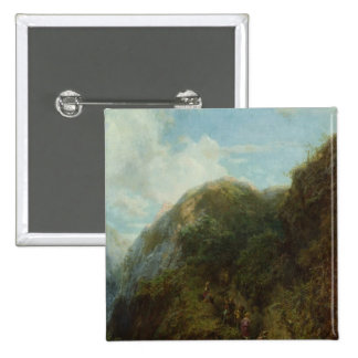 Tourists in the Mountain 15 Cm Square Badge