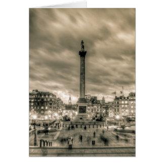 Tourists in Trafalgar Square, London Greeting Card
