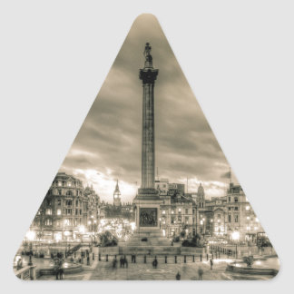 Tourists in Trafalgar Square, London Triangle Sticker