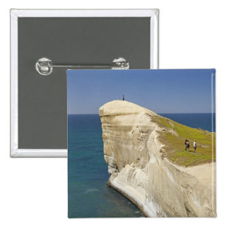 Tourists on cliff top at Tunnel Beach 15 Cm Square Badge