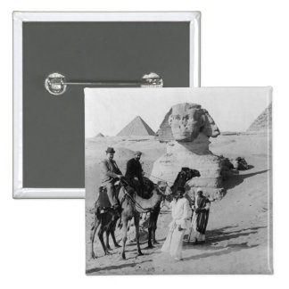 Tourists Traveling by Sphinx 15 Cm Square Badge
