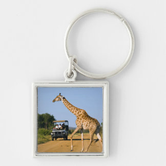 Tourists Watching Giraffe Key Ring