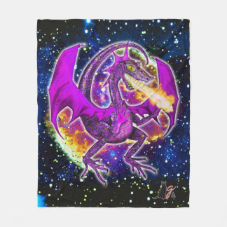 Tourmaline Cosmic Dragon Fleece Blanket