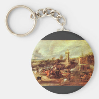 Tournament at a castle by Paul Rubens Keychain
