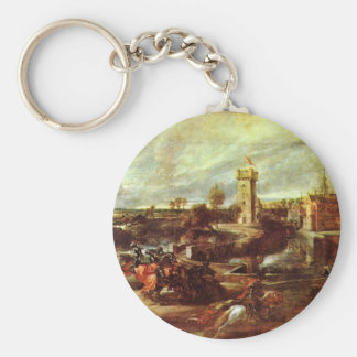 Tournament At A Castle By Rubens Peter Paul Keychains
