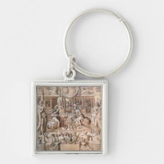 Tournament Silver-Colored Square Key Ring