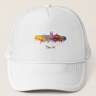 Tours skyline in watercolor trucker hat