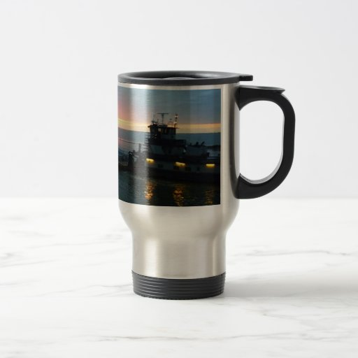 Tow Boat on the Water at Sunrise Travel Coffee Mug