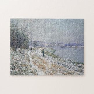 Tow Path at Argenteuil Winter Monet Fine Art Puzzle