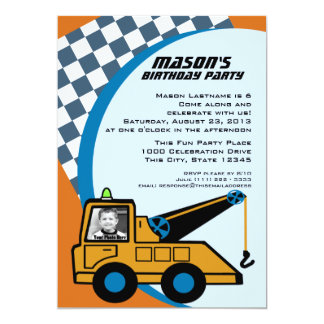 Tow Truck Birthday with Photo Card