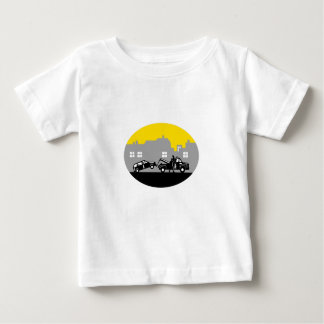 Tow Truck Towing Car Buildings Oval Woodcut Baby T-Shirt