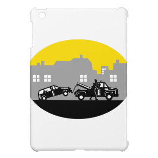 Tow Truck Towing Car Buildings Oval Woodcut Case For The iPad Mini