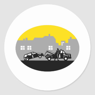 Tow Truck Towing Car Buildings Oval Woodcut Classic Round Sticker