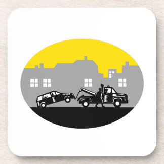 Tow Truck Towing Car Buildings Oval Woodcut Coaster