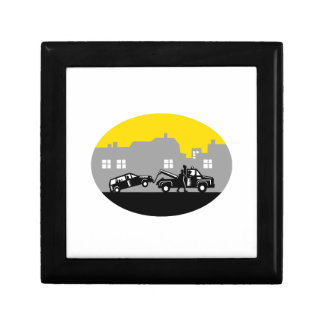 Tow Truck Towing Car Buildings Oval Woodcut Gift Box