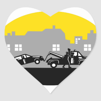 Tow Truck Towing Car Buildings Oval Woodcut Heart Sticker