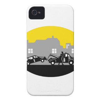 Tow Truck Towing Car Buildings Oval Woodcut iPhone 4 Case-Mate Cases
