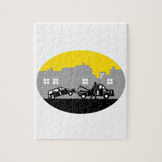 Tow Truck Towing Car Buildings Oval Woodcut Jigsaw Puzzle