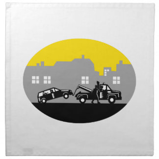 Tow Truck Towing Car Buildings Oval Woodcut Napkin