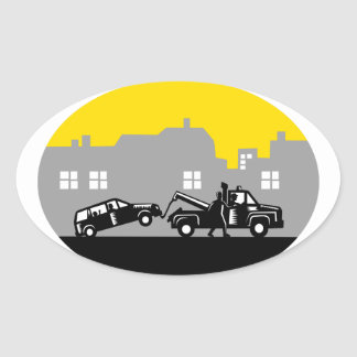 Tow Truck Towing Car Buildings Oval Woodcut Oval Sticker