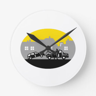 Tow Truck Towing Car Buildings Oval Woodcut Round Clock