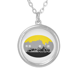 Tow Truck Towing Car Buildings Oval Woodcut Silver Plated Necklace
