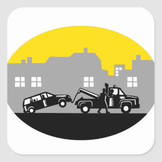 Tow Truck Towing Car Buildings Oval Woodcut Square Sticker