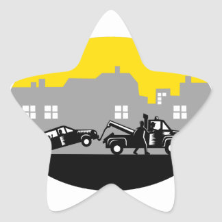 Tow Truck Towing Car Buildings Oval Woodcut Star Sticker