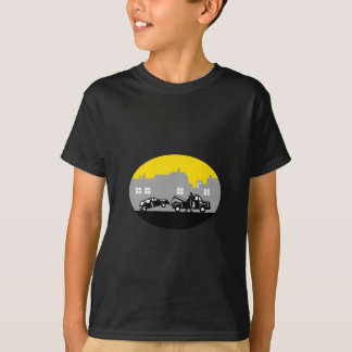 Tow Truck Towing Car Buildings Oval Woodcut T-Shirt