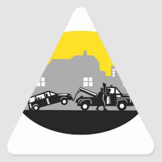 Tow Truck Towing Car Buildings Oval Woodcut Triangle Sticker