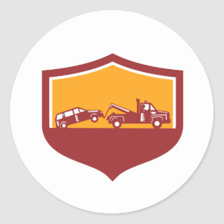 Tow Truck Towing Car Shield Retro Classic Round Sticker