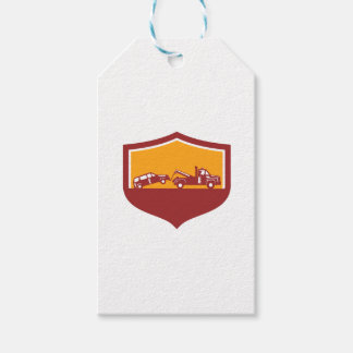 Tow Truck Towing Car Shield Retro Gift Tags