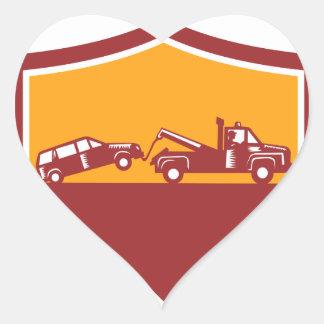 Tow Truck Towing Car Shield Retro Heart Sticker