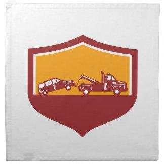 Tow Truck Towing Car Shield Retro Napkin