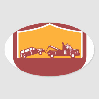 Tow Truck Towing Car Shield Retro Oval Sticker