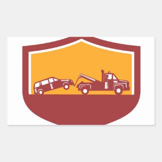 Tow Truck Towing Car Shield Retro Rectangular Sticker