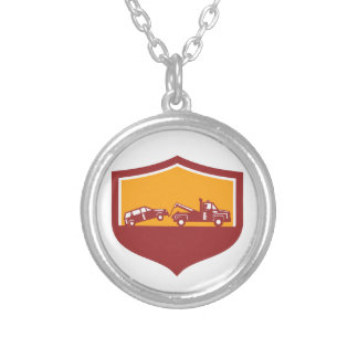 Tow Truck Towing Car Shield Retro Silver Plated Necklace