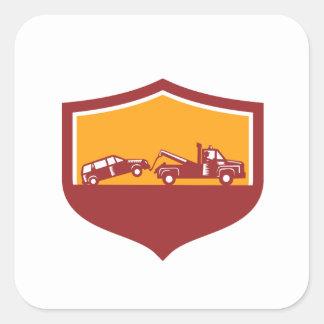Tow Truck Towing Car Shield Retro Square Sticker