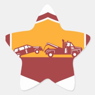 Tow Truck Towing Car Shield Retro Star Sticker